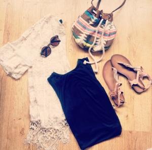 Bag, Primark Sandals, Primark Midi-Dress, H&M Kimono, New Look Sunglasses, La Moda