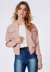 peach bomber jacket