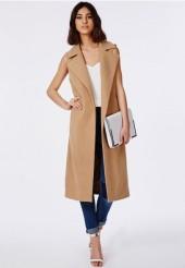 sleeveless camel coat