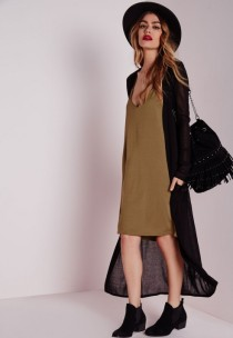 long dress and fine knit cardigan - missguided